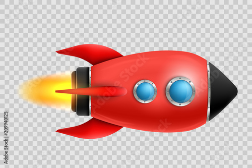 Photo  Vector illustration of realistic 3D rocket space ship launch isolated on transparent background
