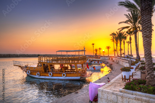 Foto op Aluminium Turkije The harbour with boats in Side at sunset, Turkey