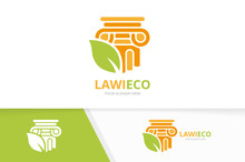 Vector Column And Leaf Logo Combination. Pillar And Eco Symbol Or Icon. Unique History And Organic Logotype Design Template.