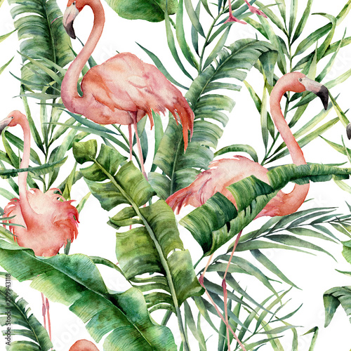 Foto-Vinylboden - Watercolor tropical pattern with palm leaves and flamingo. Hand painted greenery exotic branch and leaves on white background. Botanical illustration for design, print, fabric or background. (von derbisheva)