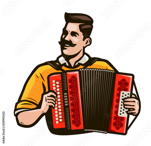 Valokuva  Happy man playing the accordion