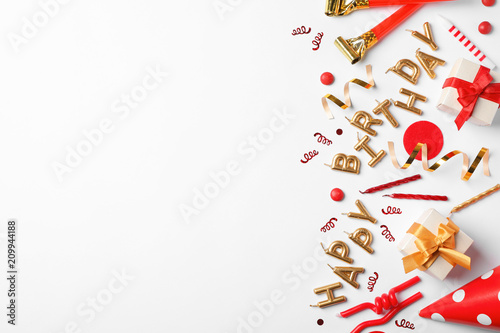 Flat Lay Composition With Birthday Party Items On Light Background