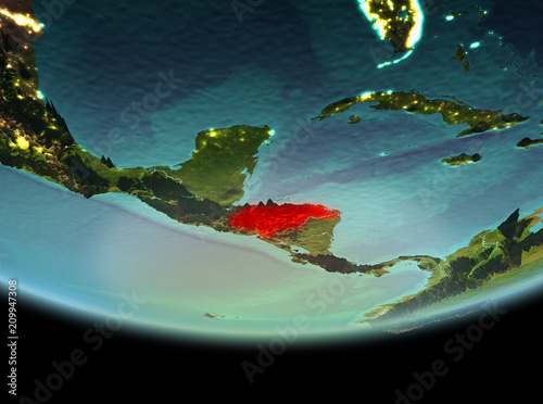 Foto op Aluminium Draken Honduras at night on Earth