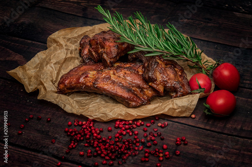 Canvas Print pork ribs bbq