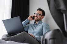 Businessman Using Laptop Compu...