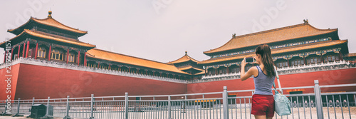 Tuinposter Peking Forbidden City Asia travel tourist in Beijing, China summer vacation banner panorama lifestyle. Asian woman taking picture with phone of Beijing touristic attraction, famous chinese landmark.