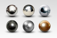 Chrome Ball Set Realistic Isol...