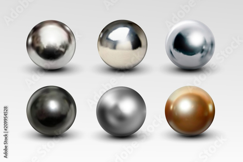 Foto Chrome ball set realistic isolated on white background