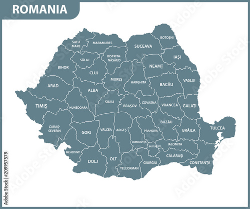 Fotografie, Obraz The detailed map of the Romania with regions or states