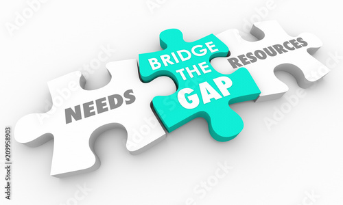 Bridge the Gap Between Needs and Resources Puzzle 3d Render Illustration Fotobehang