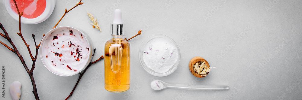 Fototapeta Organic bio cosmetics with herbal ingredients .Natural extract of amber, gold. Oils serum .handmade