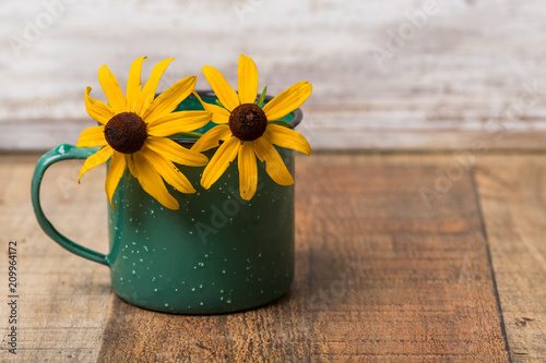 Valokuva  Green coffee cup with black eyed susan flowers on wood background