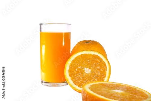 Poster Sap Fresh orange fruit on white background