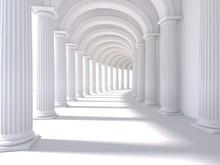 Long Corridor Interior. 3D Rendering. Illustration