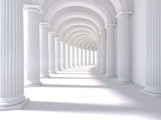 Wnętrze długiego korytarza. Renderowanie 3D. ilustracja