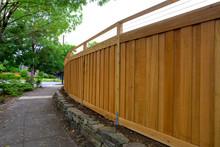 New Cedar Wood Fencing Around Backyard