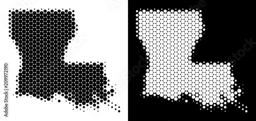 Dot halftone Louisiana State map. Vector geographic plan on white ...