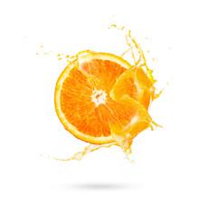 Fresh Slide Half Of Ripe Orange Fruit With Orange Juice Splash Water Isolated On White Background