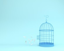 White Angel Feathers Floating Outside Retro Bird Cage On Pastel Blue Background  Minimal Idea Concept Of Freedom