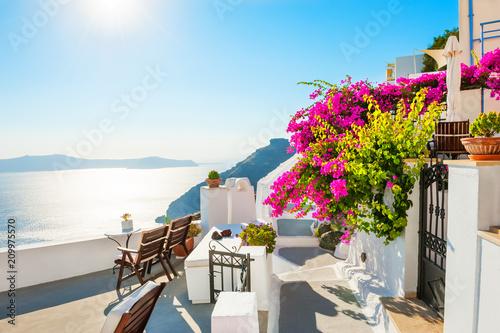 Fototapeta Beautiful terrace with pink flowers on Santorini island, Greece obraz