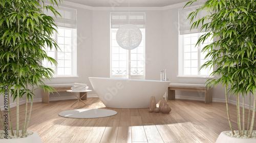 Fotografía  Zen interior with potted bamboo plant, natural interior design concept, classic