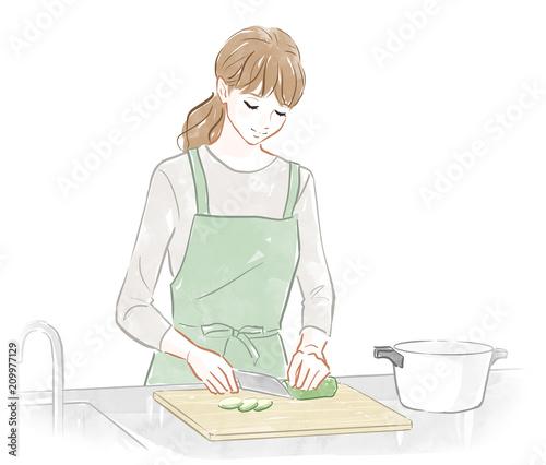 料理する女性 Adobe Stock でこのストックイラストを購入して類似の