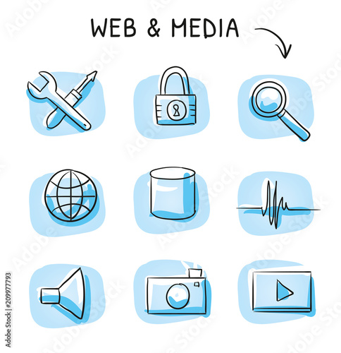 Set with different web icons, as tools, data block, media