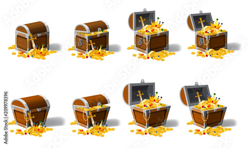 Fototapeta Set old pirate chests full of treasures, gold coins, vector, cartoon style, illustration, isolated