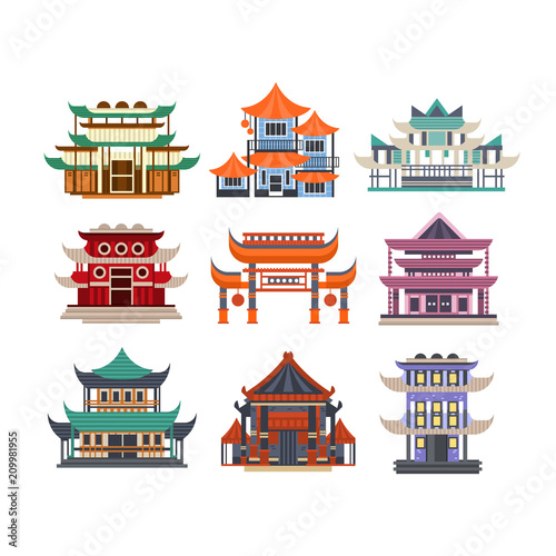 Fotografiet Traditional pagoda buildings set, Asian architecture objects vector Illustration