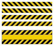 Caution Tape Grunge Set Vector...