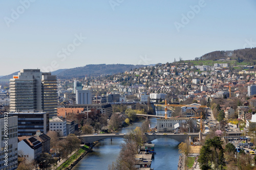 Fotobehang Liguria Switzerland: Panoramic view to the westend of Zürich-City and the Limmat-River from Mariott Hotel