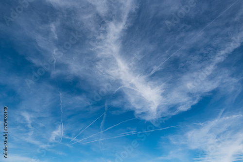 Poster Onweer Blue sky with white clouds background