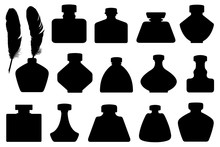 Set Of Different Inkwells Isol...