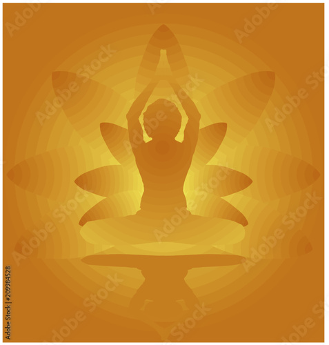 Yoga Day Meditation Parvastasna Pose Banner Against Golden Lotus Petals With Beautiful Gradient Vector Design Colour On Golden Background Buy This Stock Vector And Explore Similar Vectors At Adobe Stock