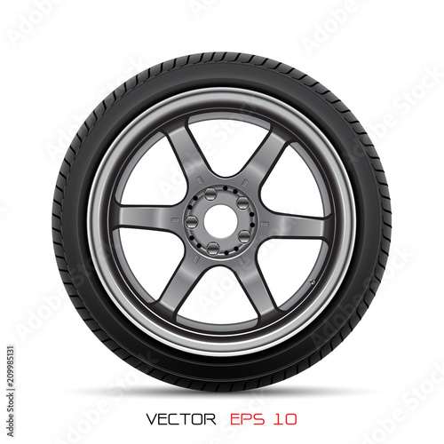 Fotomural Aluminum wheel car tire style racing on white background vector illustration