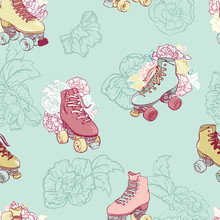 Roller Skates With Roses In Pastels. Vector Seamless Pattern Background.
