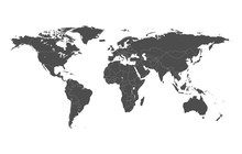 Political Map Of The World With Separate Countries. Editable Stroke
