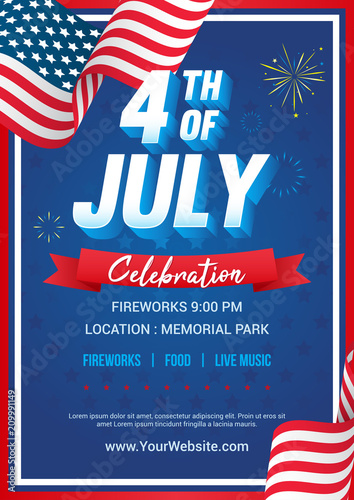 Obraz 4th of July poster templates Vector illustration, USA flag waving frame with fireworks on blue star pattern background. Flyer design - fototapety do salonu