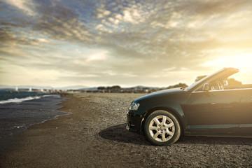 Fototapeta na wymiar summer car and road