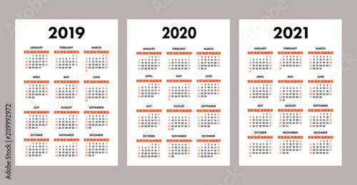 pocket calendar 2019 2020 2021 set basic simple template week