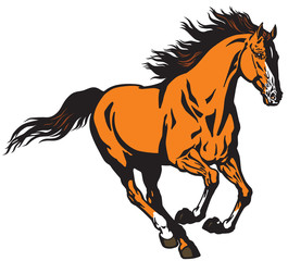 running wild stallion horse. Mustang in the gallop  .Isolated vector illustration