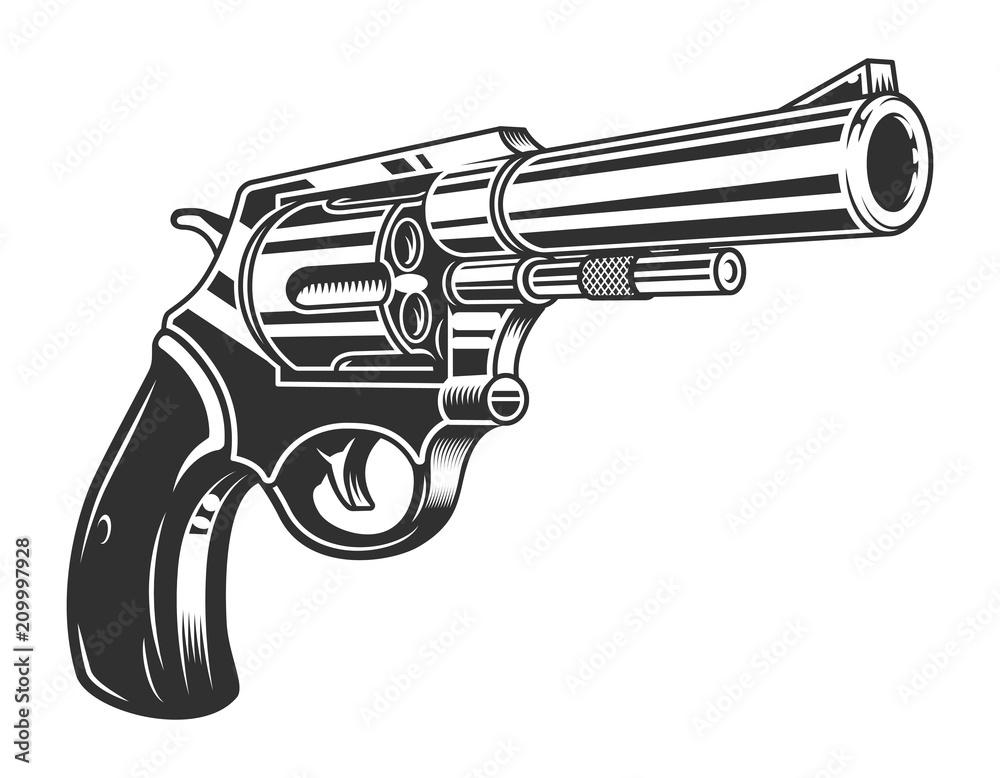 Fototapeta Vintage monochrome six shooter revolver concept