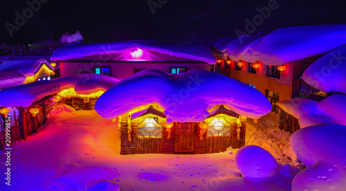 Türaufkleber UFO Snow village at night in Harbin, China