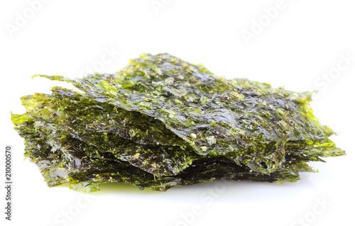 Fotografía  Crispy dried seaweed nori.