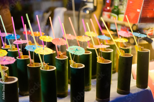 Thai drinks in bamboo pipes