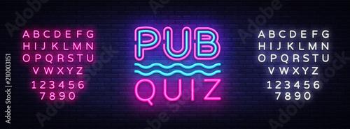 Fototapeta Pub Quiz night announcement poster vector design template. Quiz neon signboard, light banner. Pub quiz held in pub or bar, night club. Pub team game. Questions game. Vector. Editing text neon sign obraz