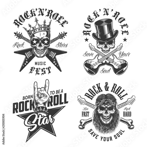 Set of rock and roll emblems Canvas-taulu