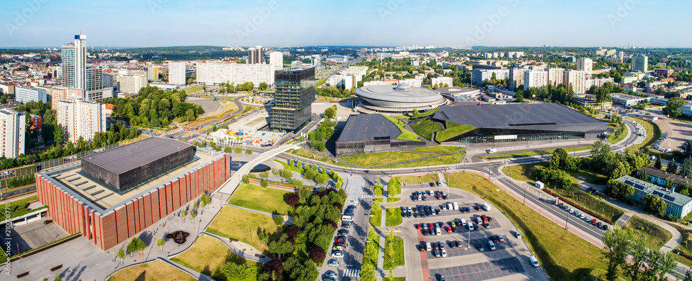 Wide aerial panorama of Katowice city center in Poland