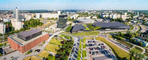 plakat Wide aerial panorama of Katowice city center in Poland