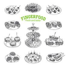 Beautiful Vector Hand Drawn Finger Food Illustration.